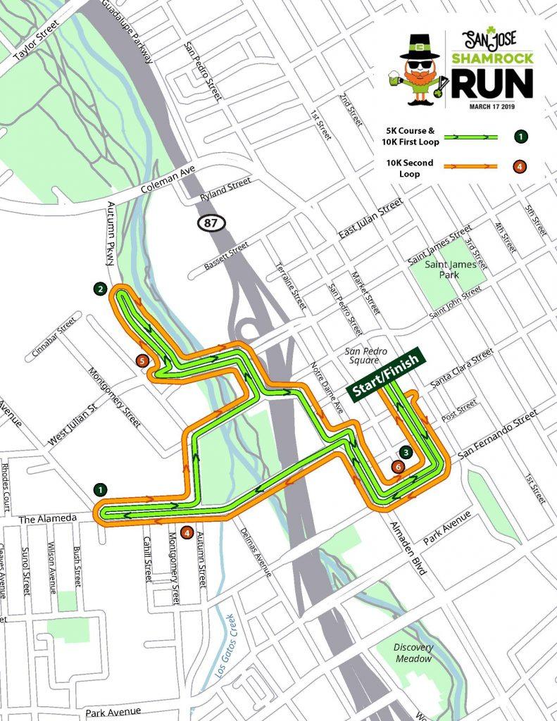 San Jose Shamrock Run Map